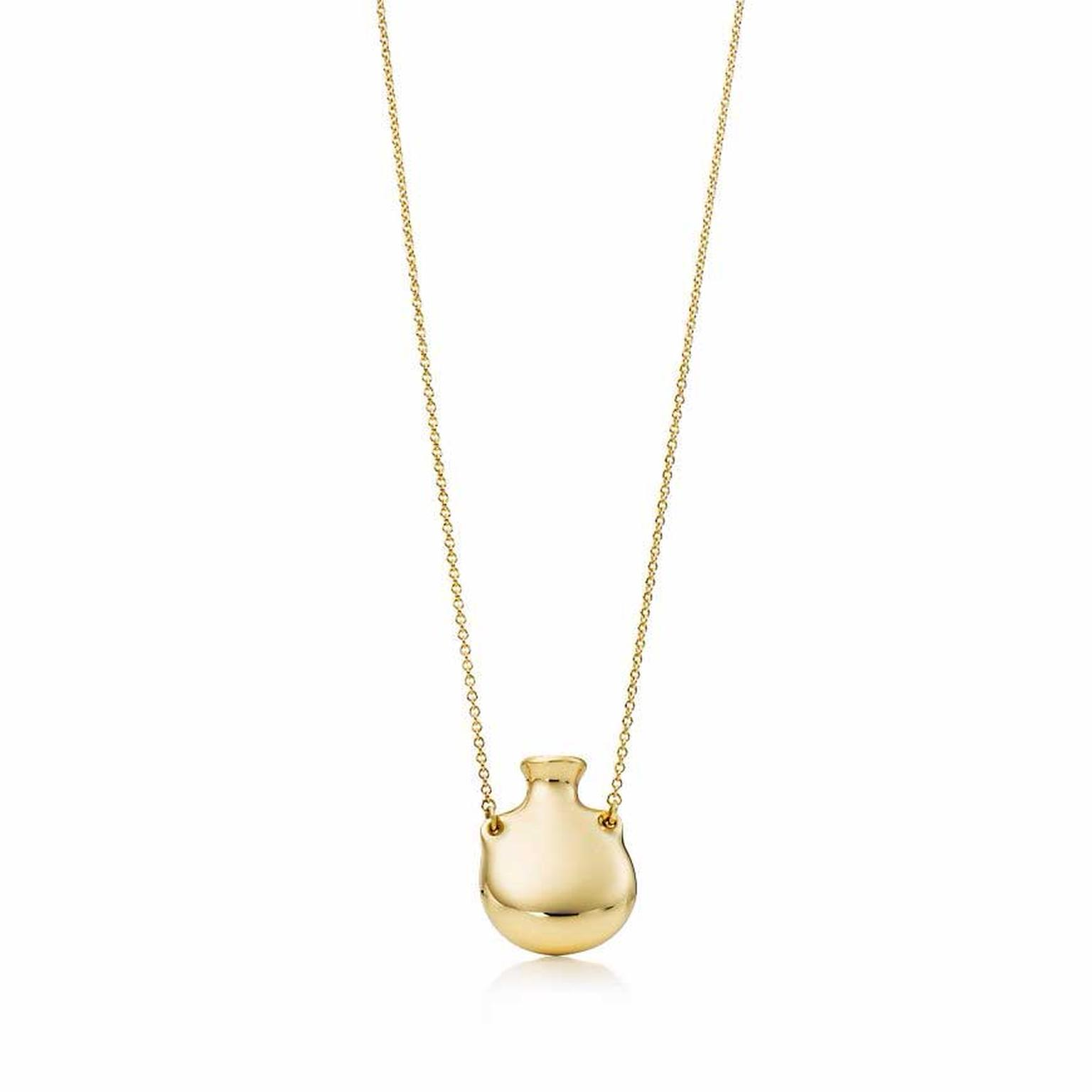 Elsa Peretti for Tiffany Bottle open pendant in yellow gold