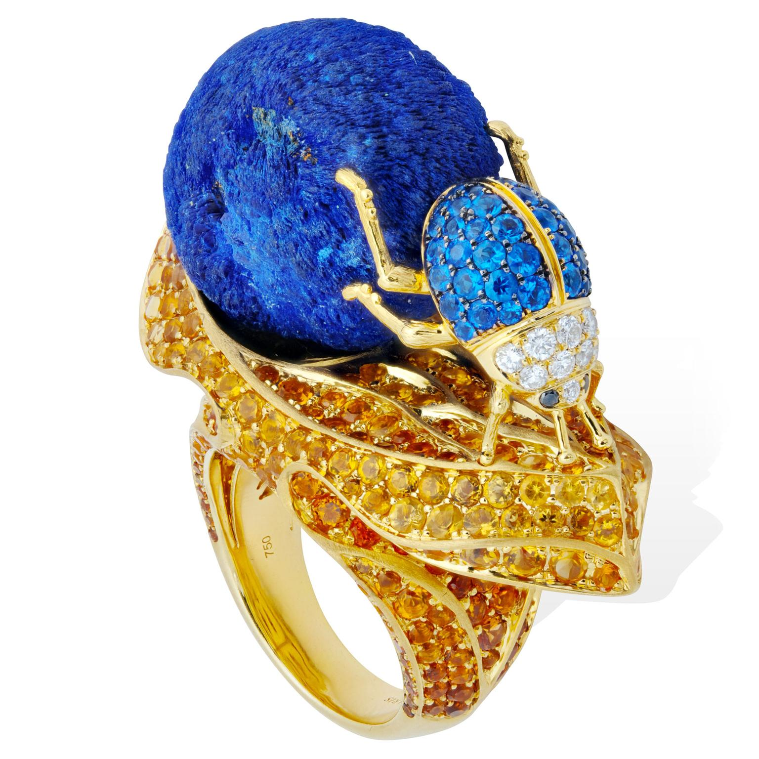 "Lydia Courteille Sahara azurite ""dung ball"" ring"