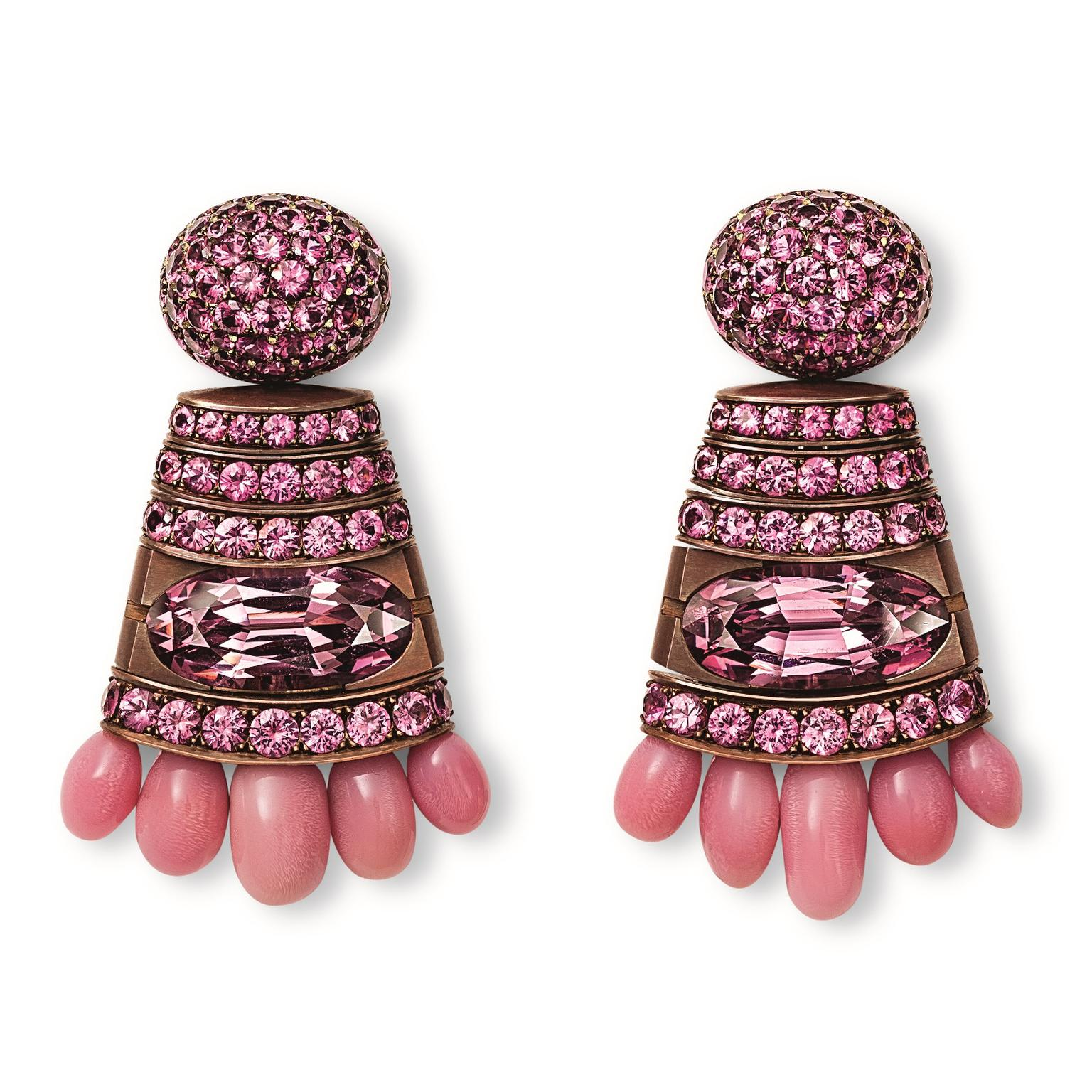 Hemmerle pink conch pearl earrings