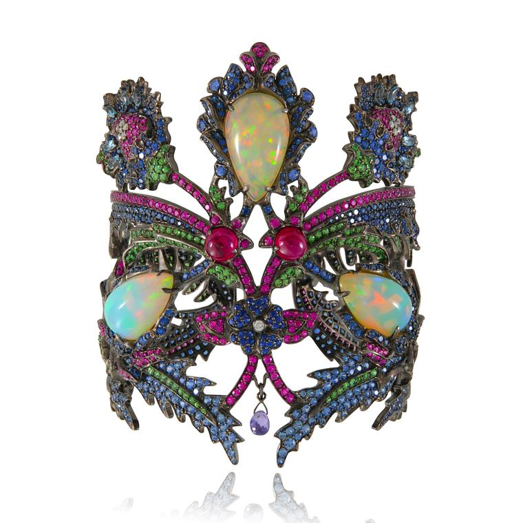 Topkapi Welo opal cuff with coloured gemstones