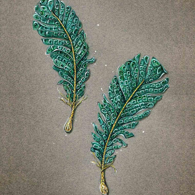 Cindy Chao Black Label Masterpiece emerald feather brooches sketch