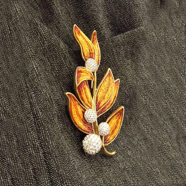 Sicis Lauro micromosaic brooch with diamonds