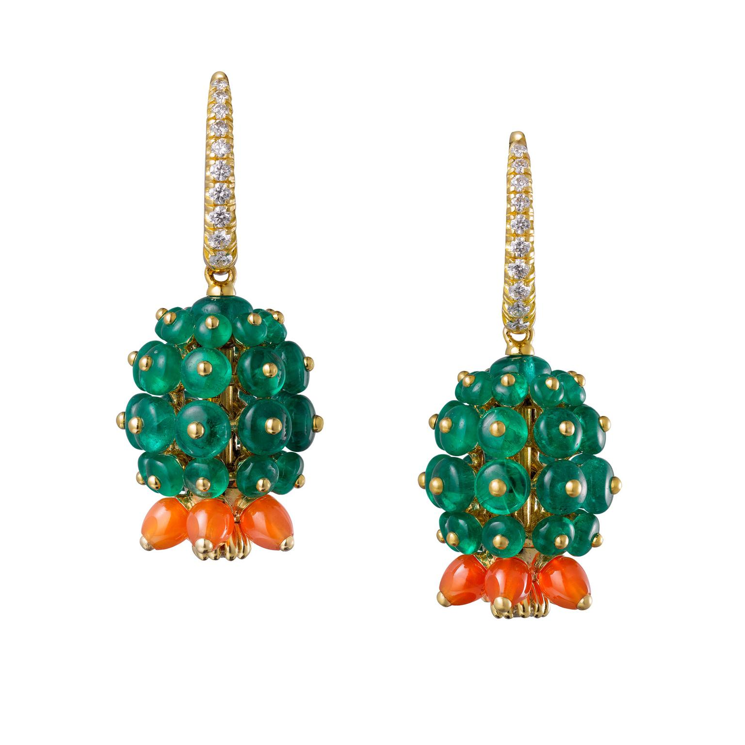 Cactus de Cartier drop earrings set with emerald and carnelian cactus beads