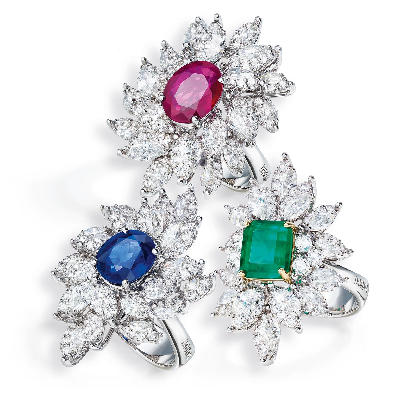 Damiani Emozioni sapphire, emerald and ruby rings