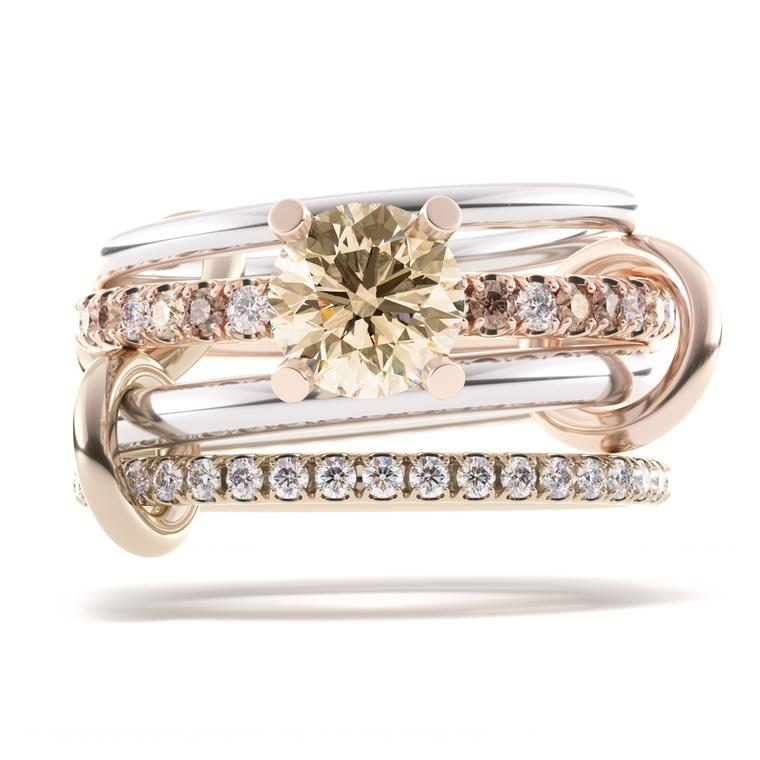 Anath champagne diamond stack ring