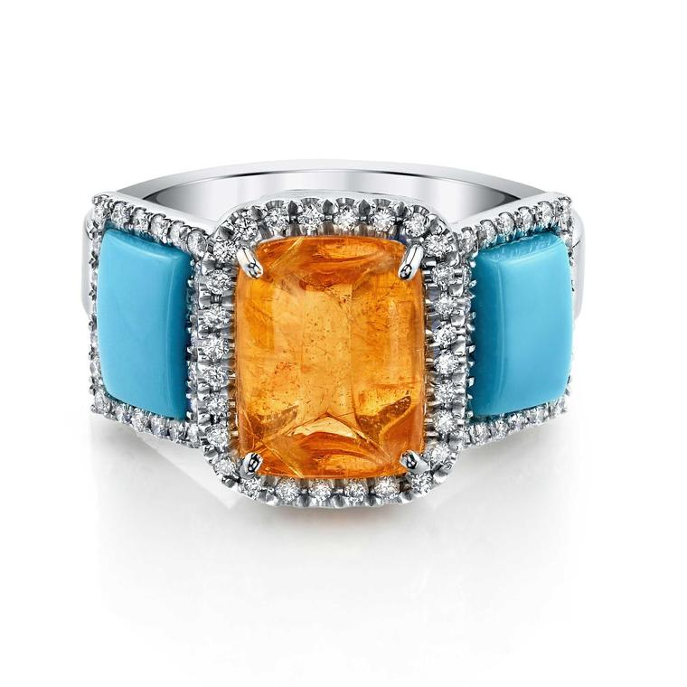 Suzanne Felsen mandarin garnet, turquoise and diamond ring