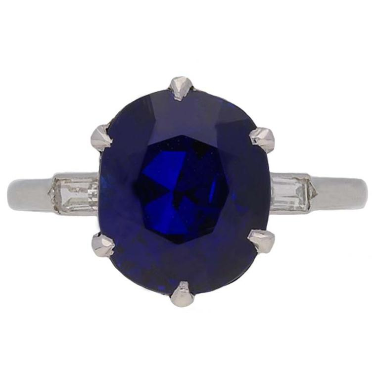 Boucheron sapphire and diamond engagement ring front view