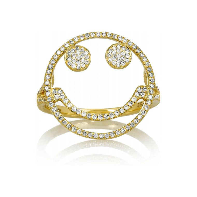 Rosa De La Cruz gold and diamond Smile ring