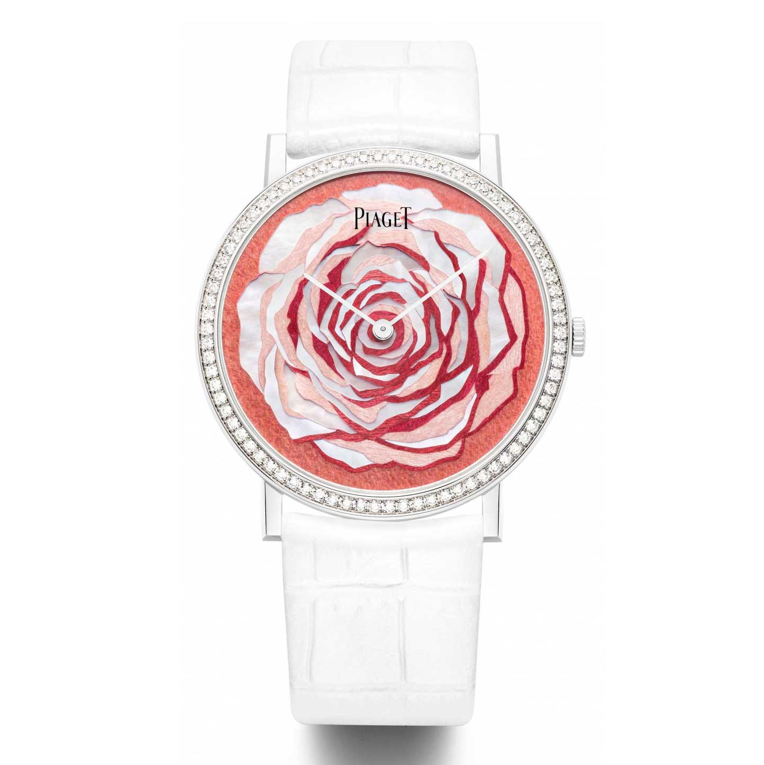 Piaget Altiplano dial in white mother-of-pearl and wood marquetry by Rose Saneuil