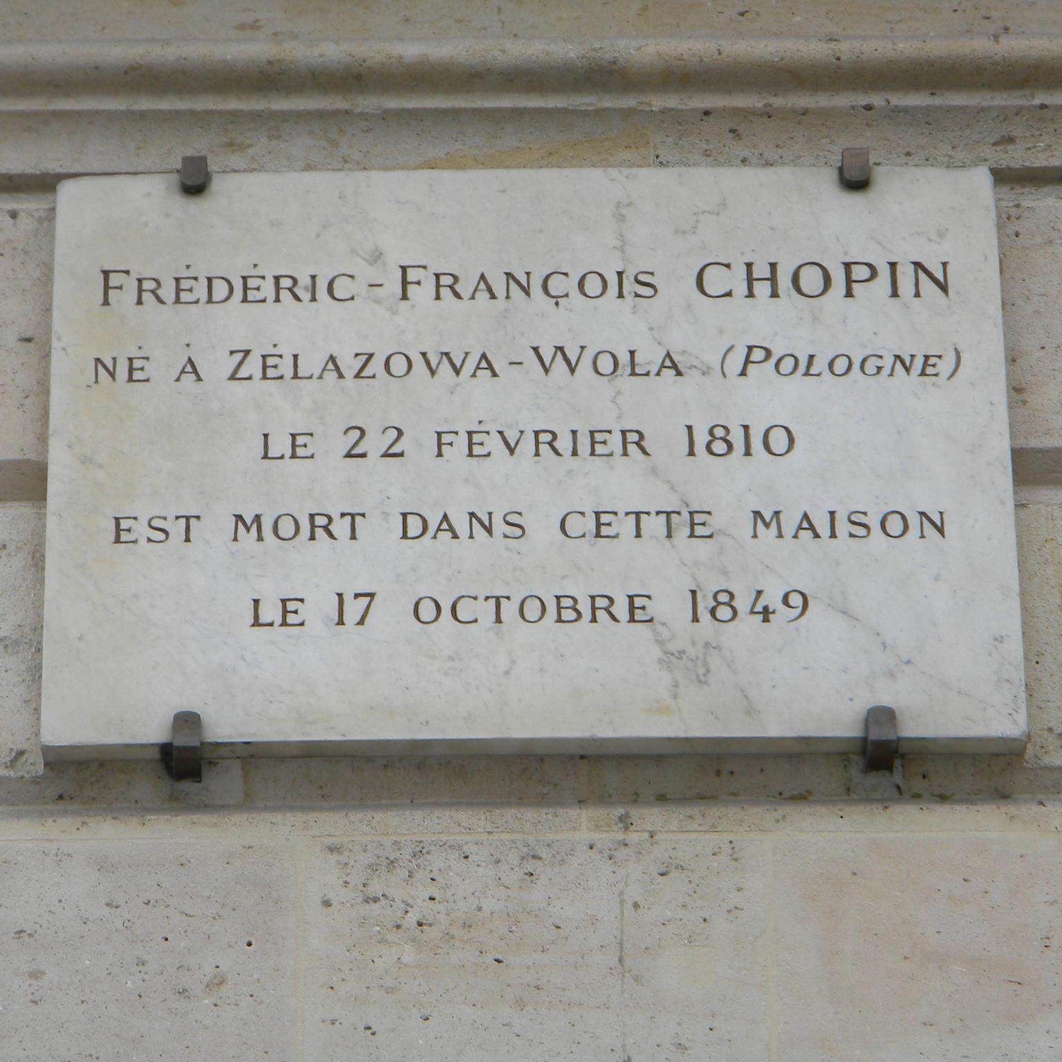 Chopin plaque Place Vendome