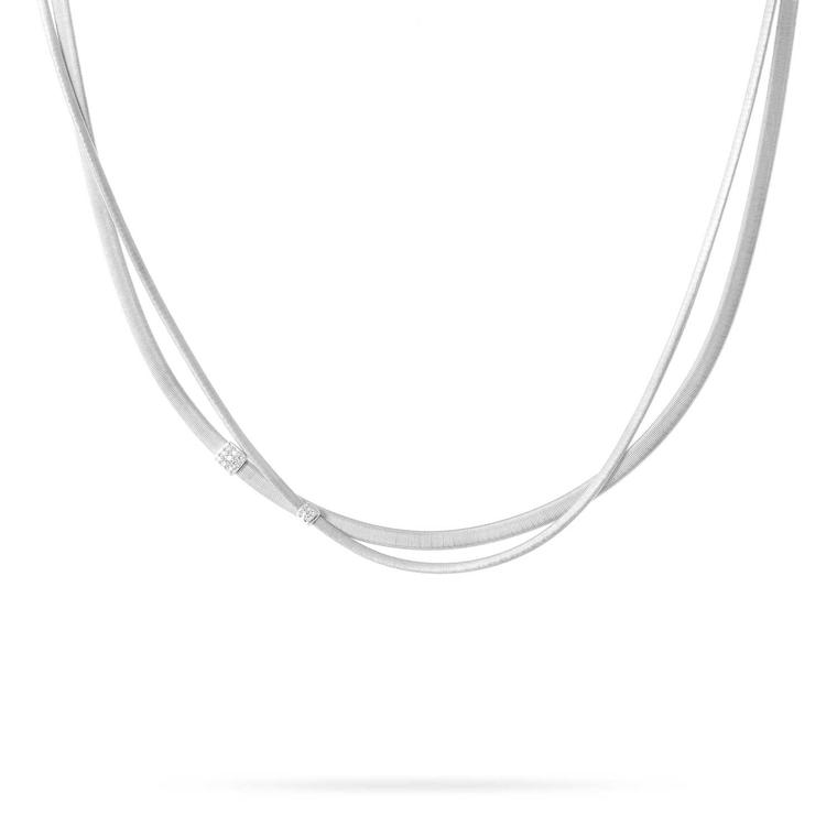 Marco Bicego two-strand Masai necklace in white gold with diamonds