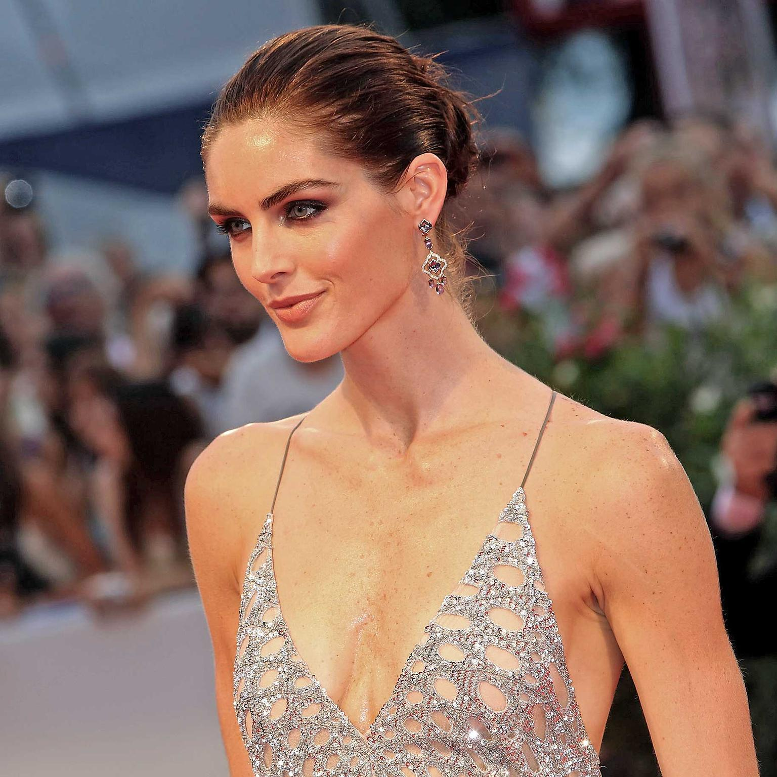 Hilary Rhoda at the Spotlight premiere wearing Chopard
