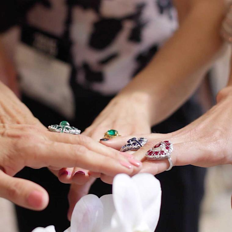 The Jewellery Editor team tries on a selection of coloured gemstone rings