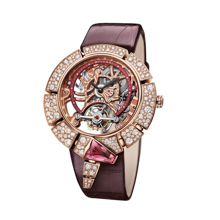 Serpenti Incantati Tourbillon Lumière Skeleton watch in pink gold