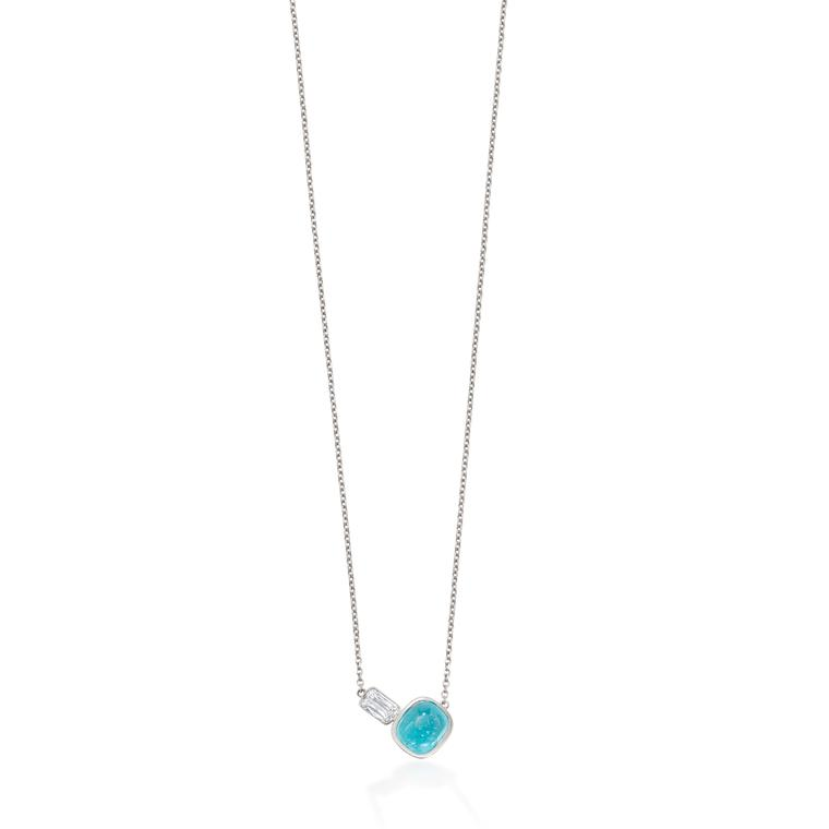 Boodles Pas de Deux diamond and Paraiba tourmaline necklace