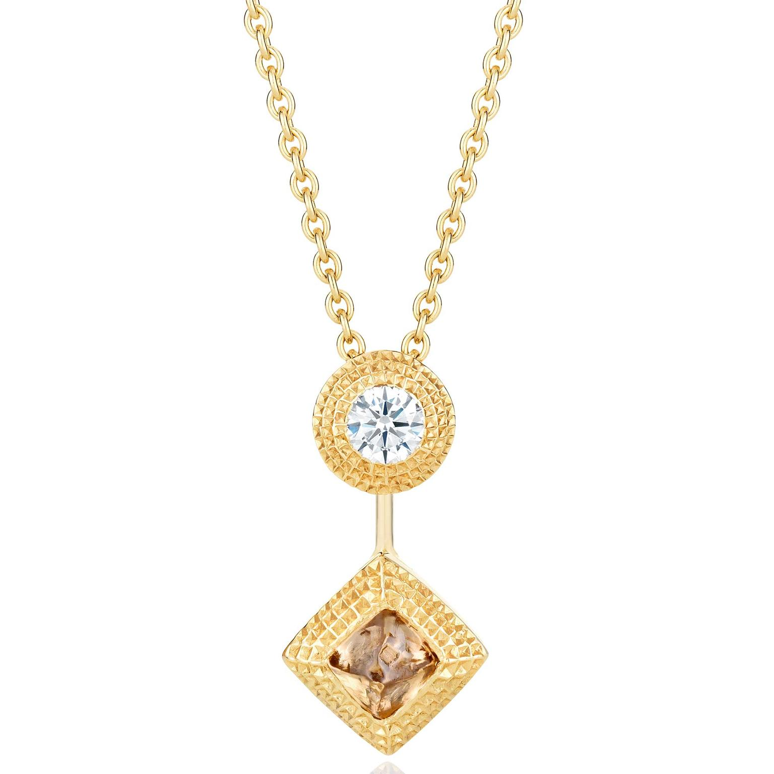 De Beers Talisman rough diamond pendant necklace