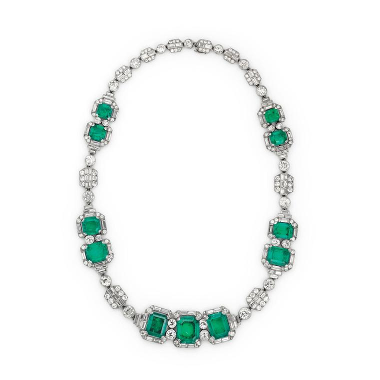 Margaret Thatcher's Art Deco emerald and diamond Chaumet necklace