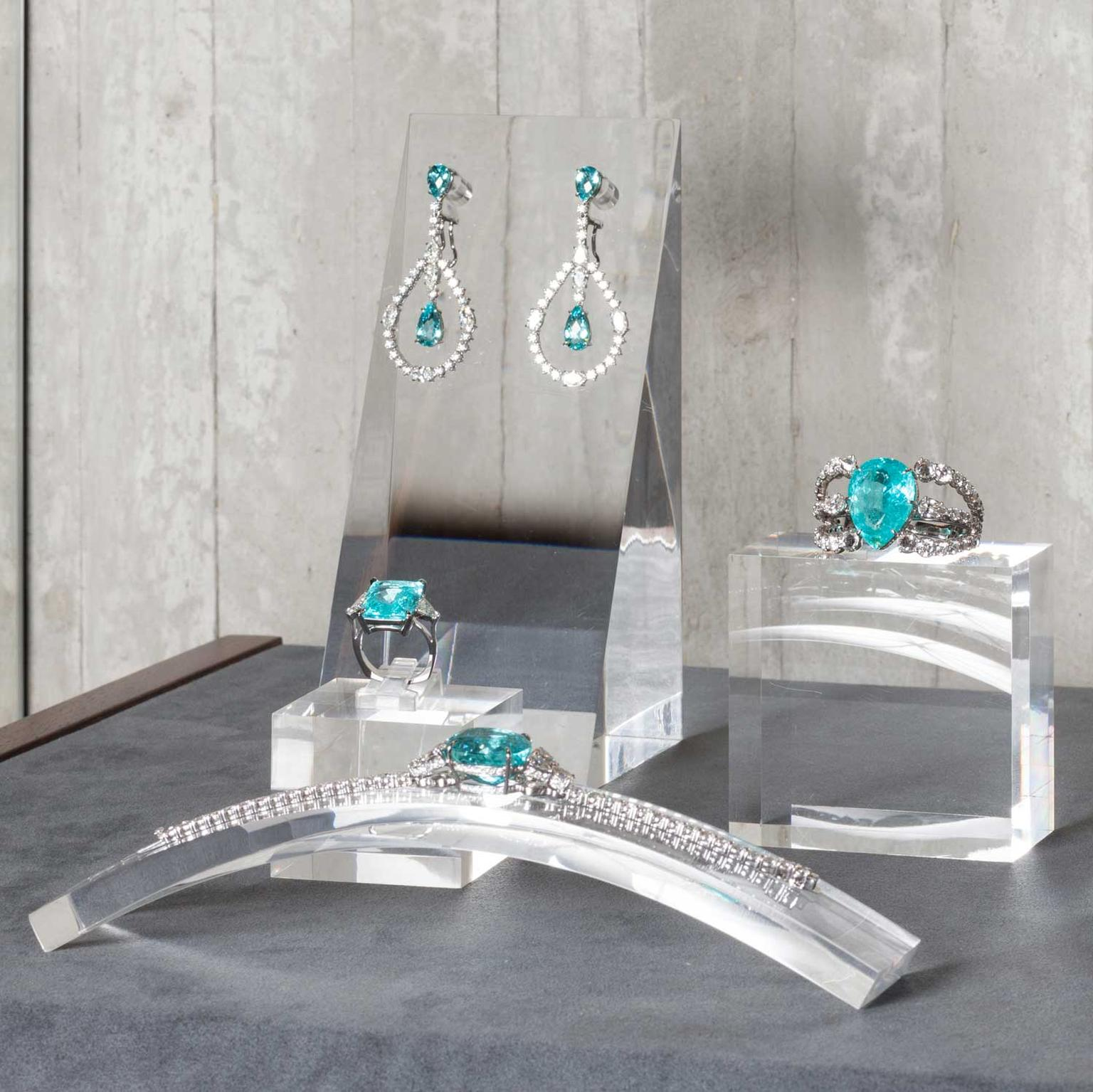 Ara Vartanian Paraiba tourmaline jewels on display in his London boutique