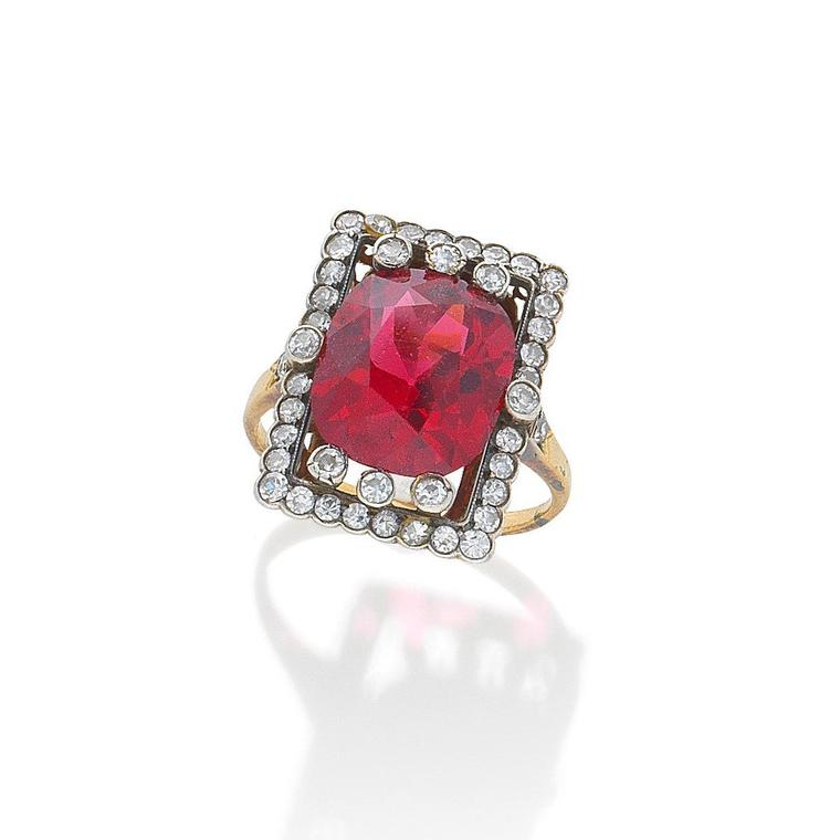 A spinel and diamond ring, circa 1890 auctionned by Bonhams - Lot 26
