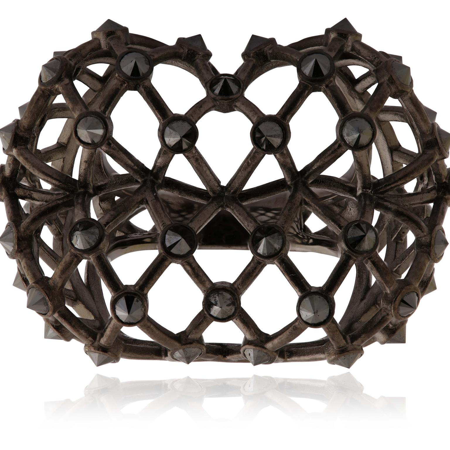 Lydia Courteille La Vie en Rose black diamond cuff bracelet