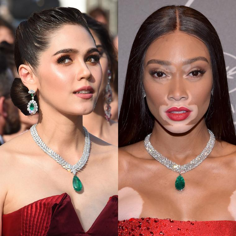 Araya Hargate and Winnie Harlow wear same Chopard emerald necklace on Cannes Film Festival red carpet