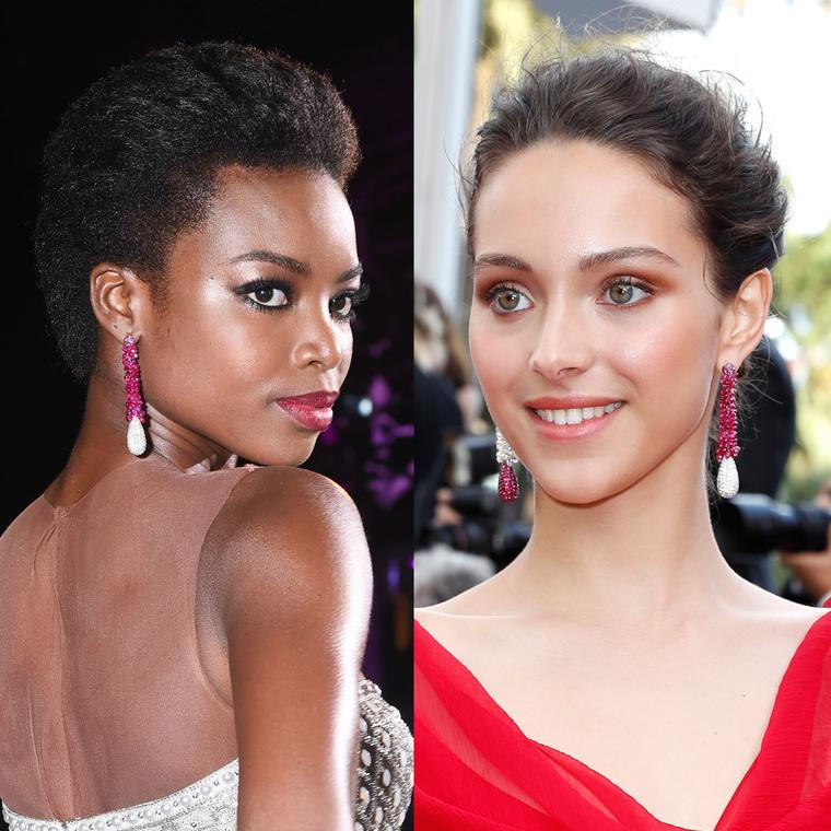 Maria Borges and Jenaye Noah May wear the same de GRISOGONO ruby earrings on the Cannes Film Festival red carpet