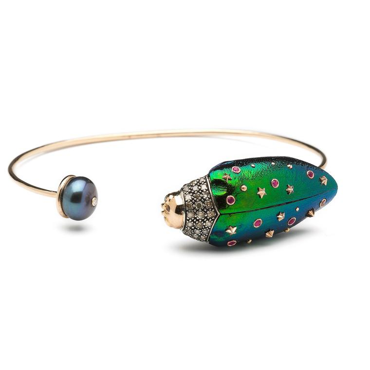 Scarab wing and Tahitian pearl bangle
