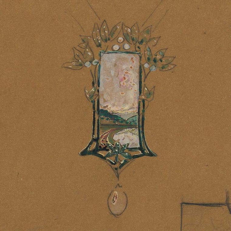 Sketch by Fouquet for Art Nouveau pendant