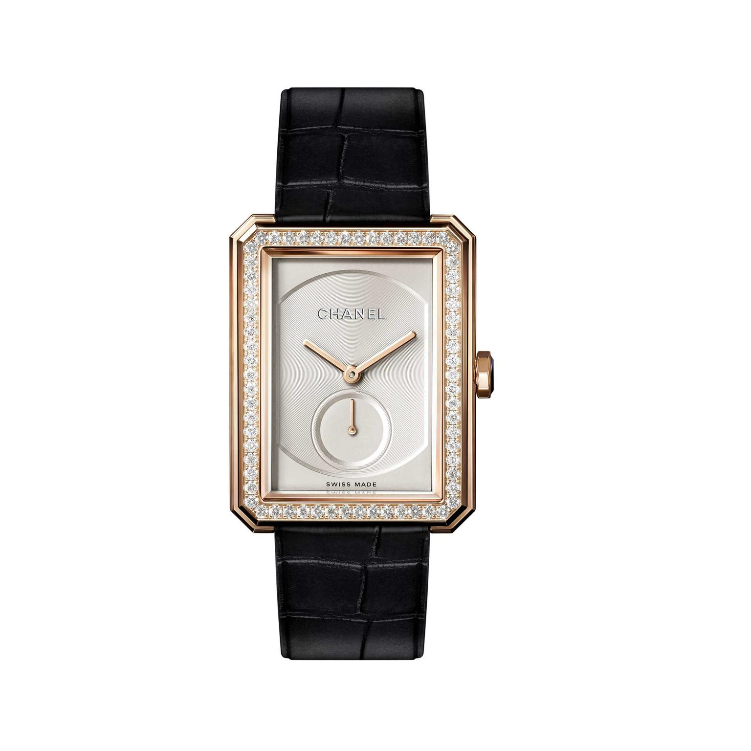 Chanel Boyfriend beige gold mechanical watch with diamonds
