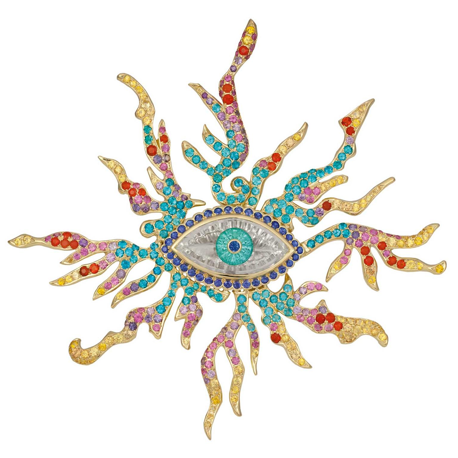 Paula Crevoshay Eye of Ra brooch
