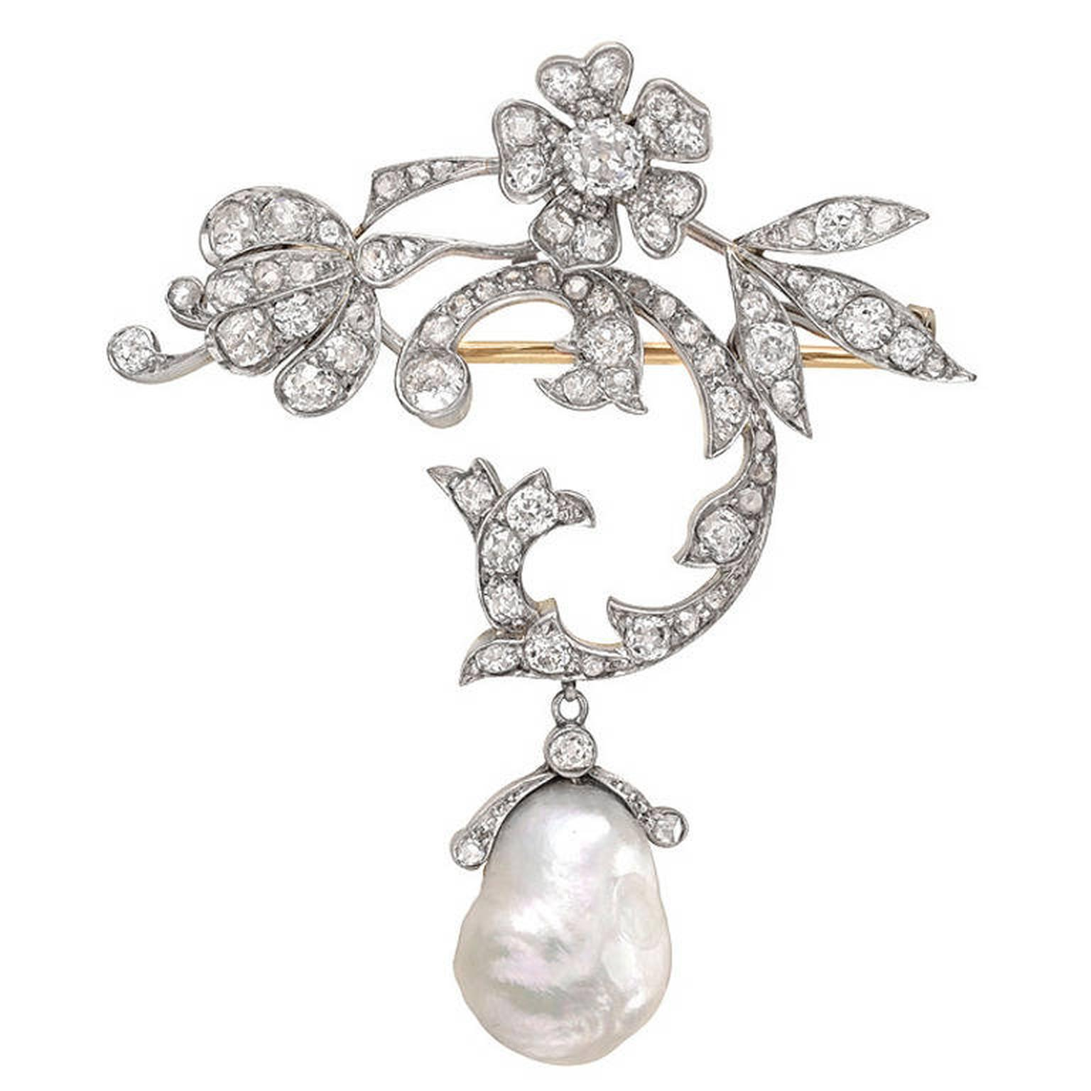 Betteridge Edwardian brooch with a Baroque pearl