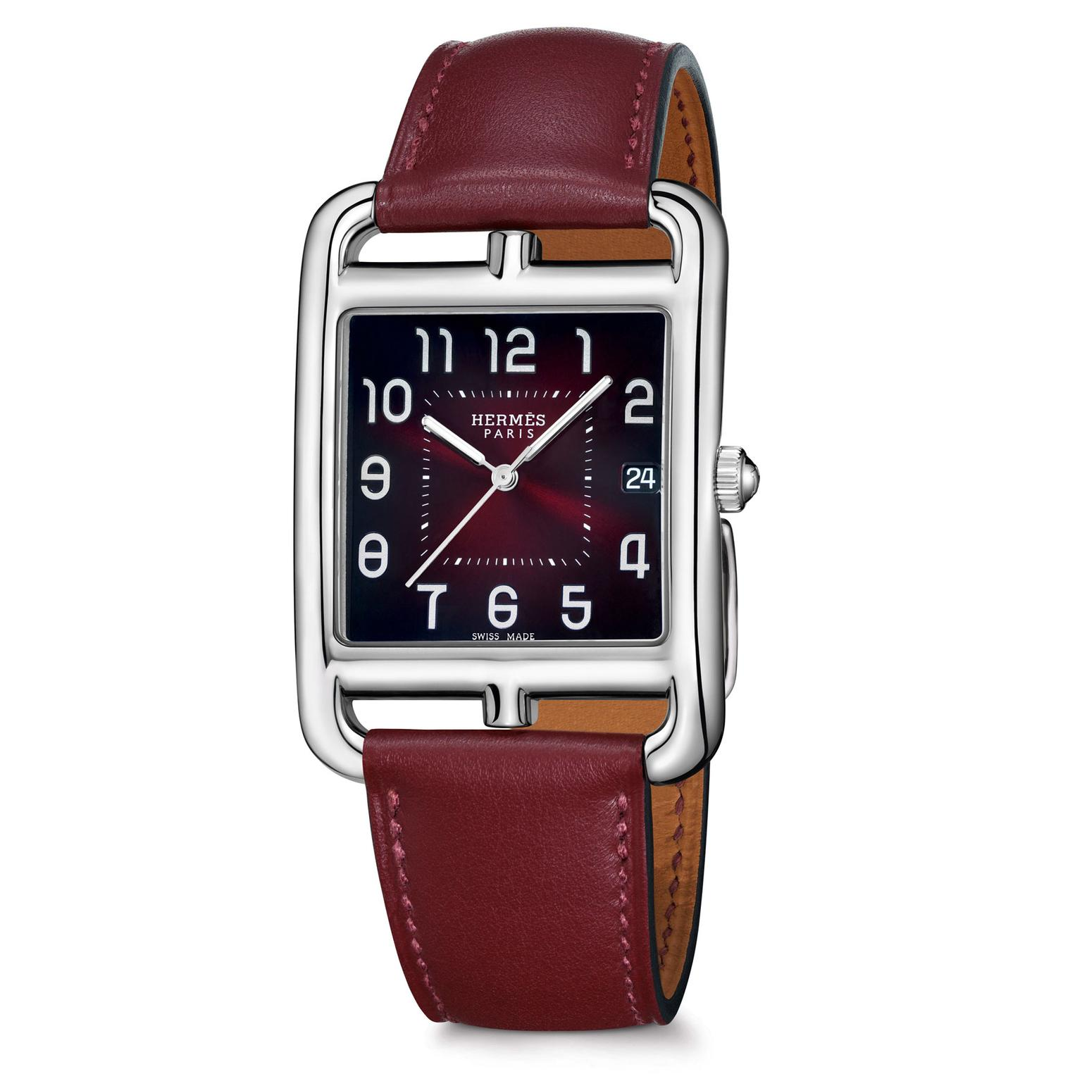 Hermes Caoe Cod watch with red lacquered dial