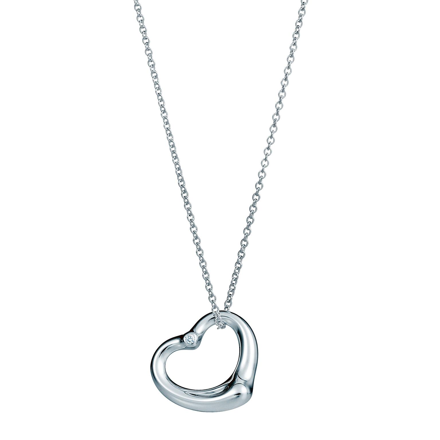Elsa Peretti Open Heart diamond necklace in silver