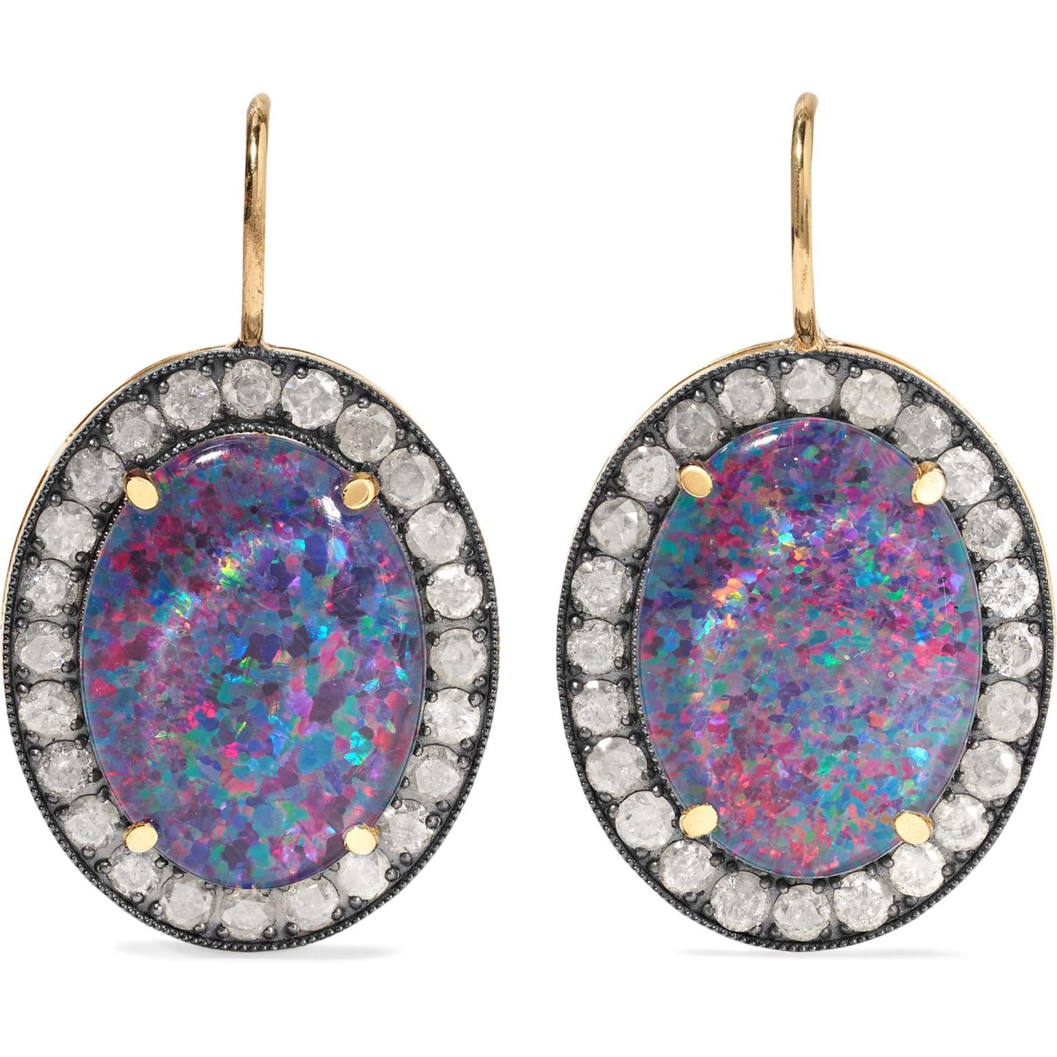 Andrea Fohrman 18-karat gold, opal and diamond earrings Still