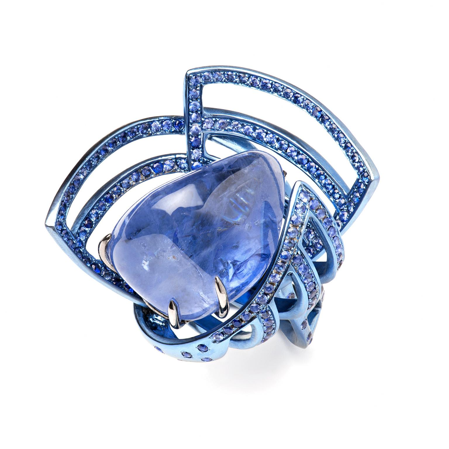 Suzanne Syz Star Wars Treasures sapphire ring in blue titanium
