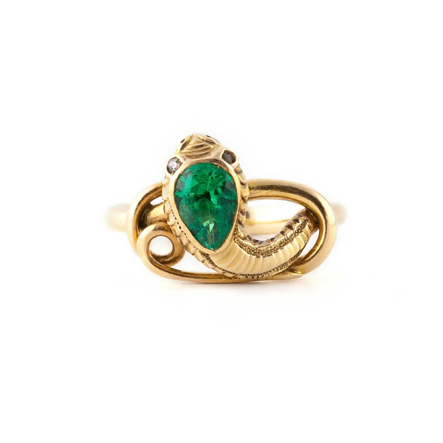 Victorian Emerald Snake ring