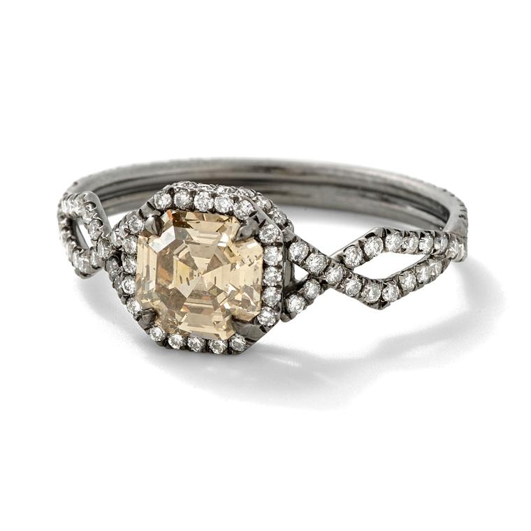 Monique Pean Mineraux recycled platinum and champagne diamond engagement ring
