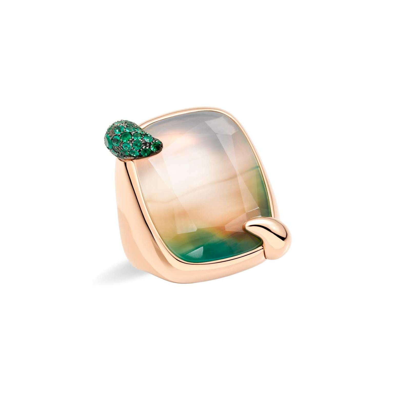 Pomellato Ritratto 50th annivesary Foggy Morning white green agate ring