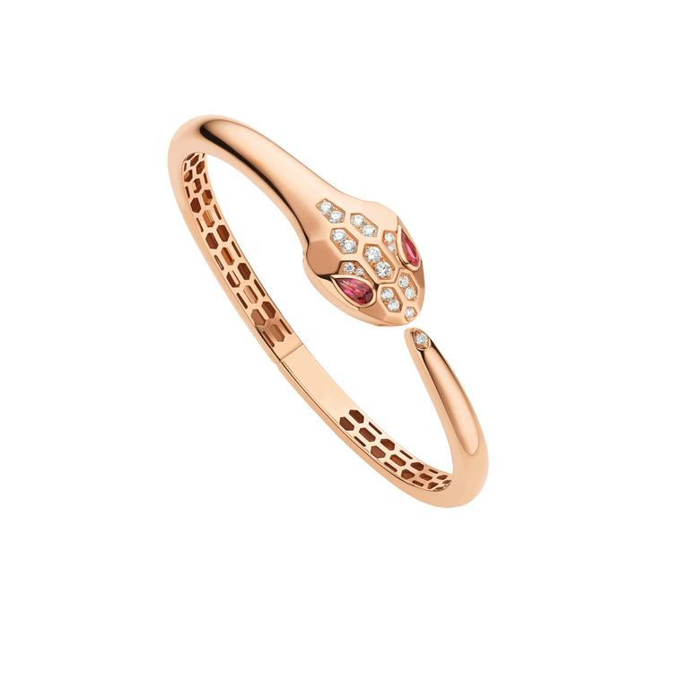 Serpenti Seduttori rose gold bracelet with rubellites