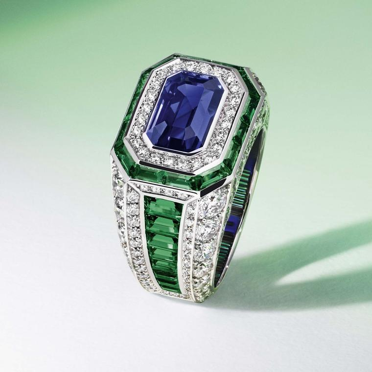Louis Vuitton Riders of the Knights diamond, emerald and sapphire ring