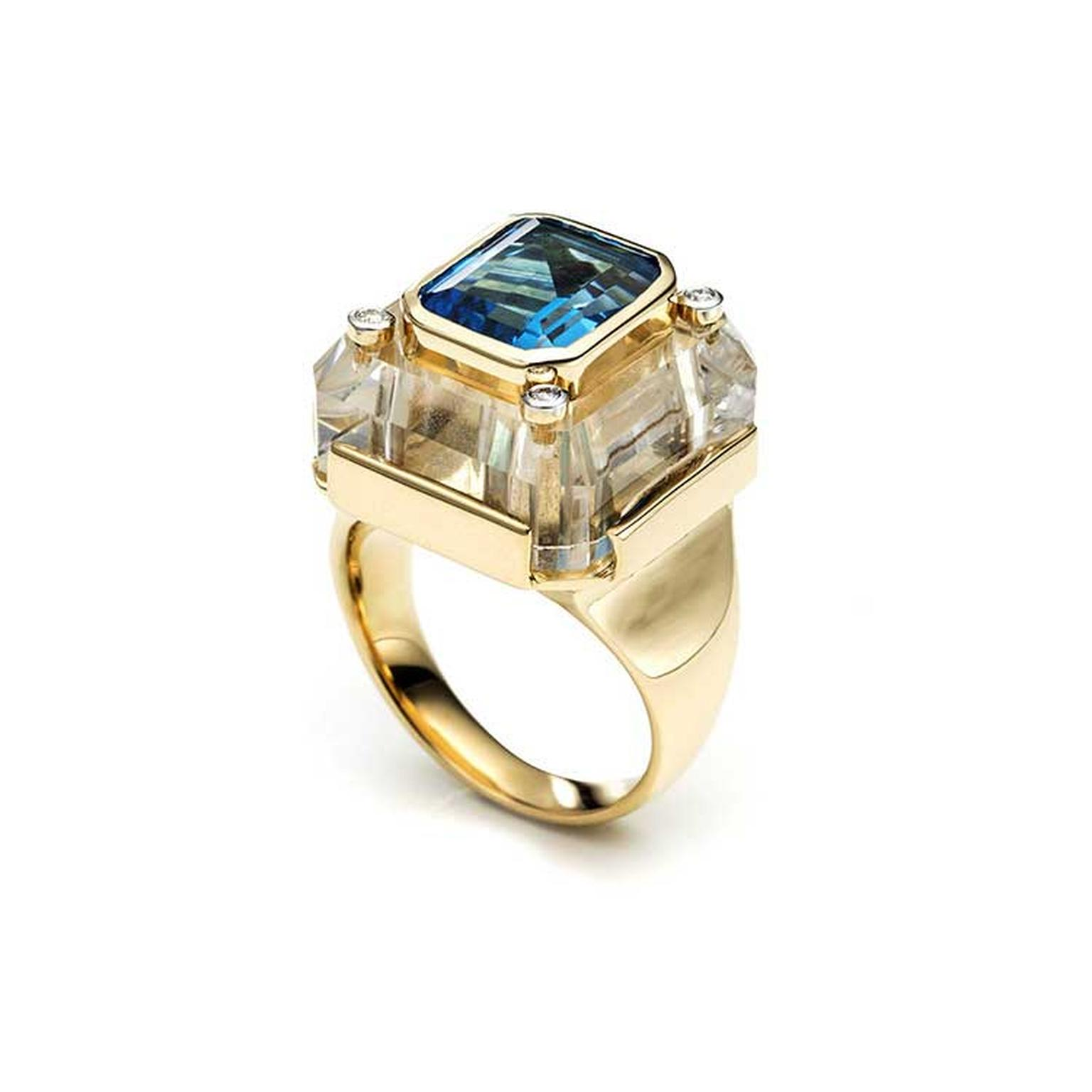 Kara Ross Cava ring in rock crystal with blue topaz