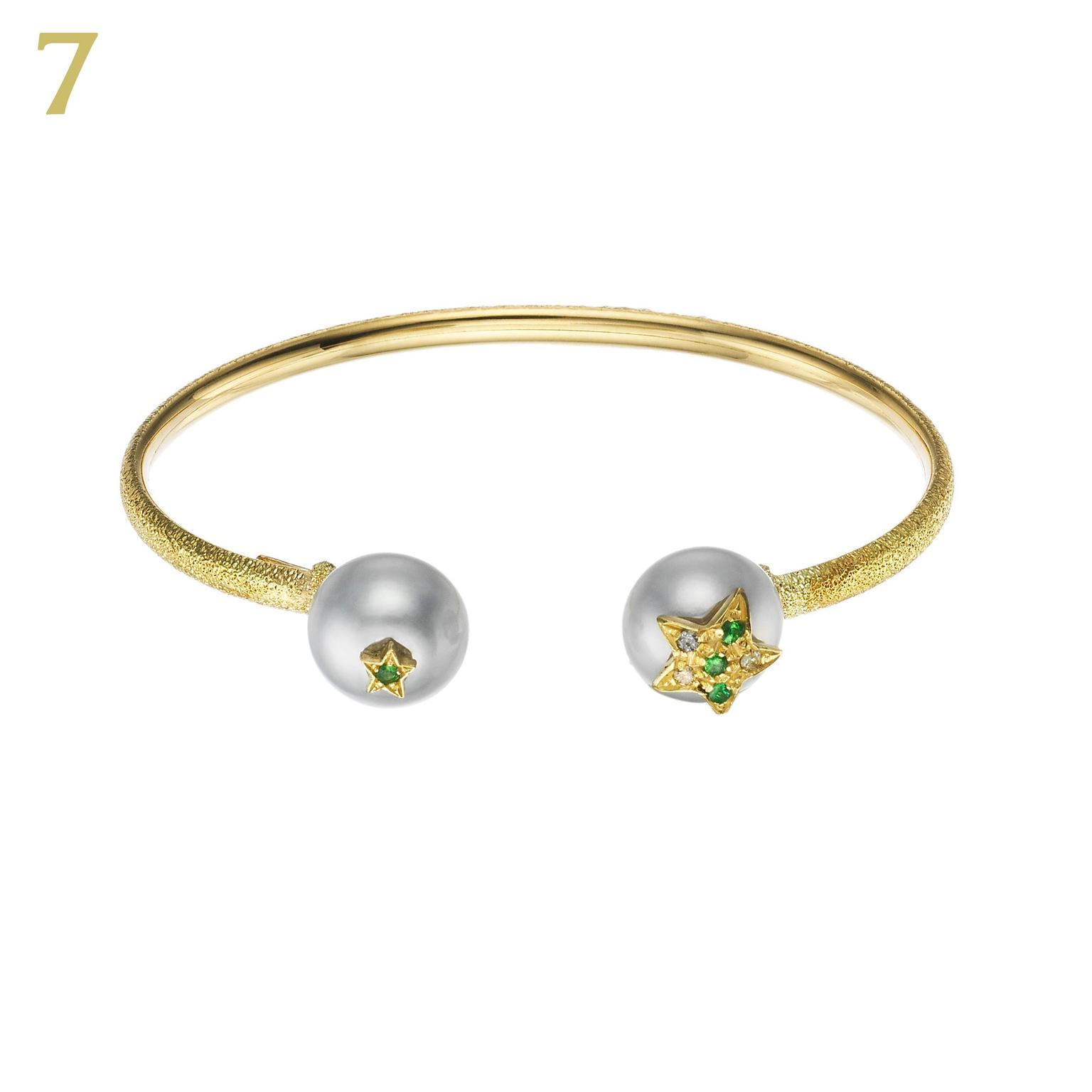 Carolina Bucci superstella diamond pearl green topaz bangle