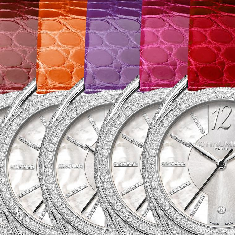 Chaumet Liens Lumiere watches with different coloured straps