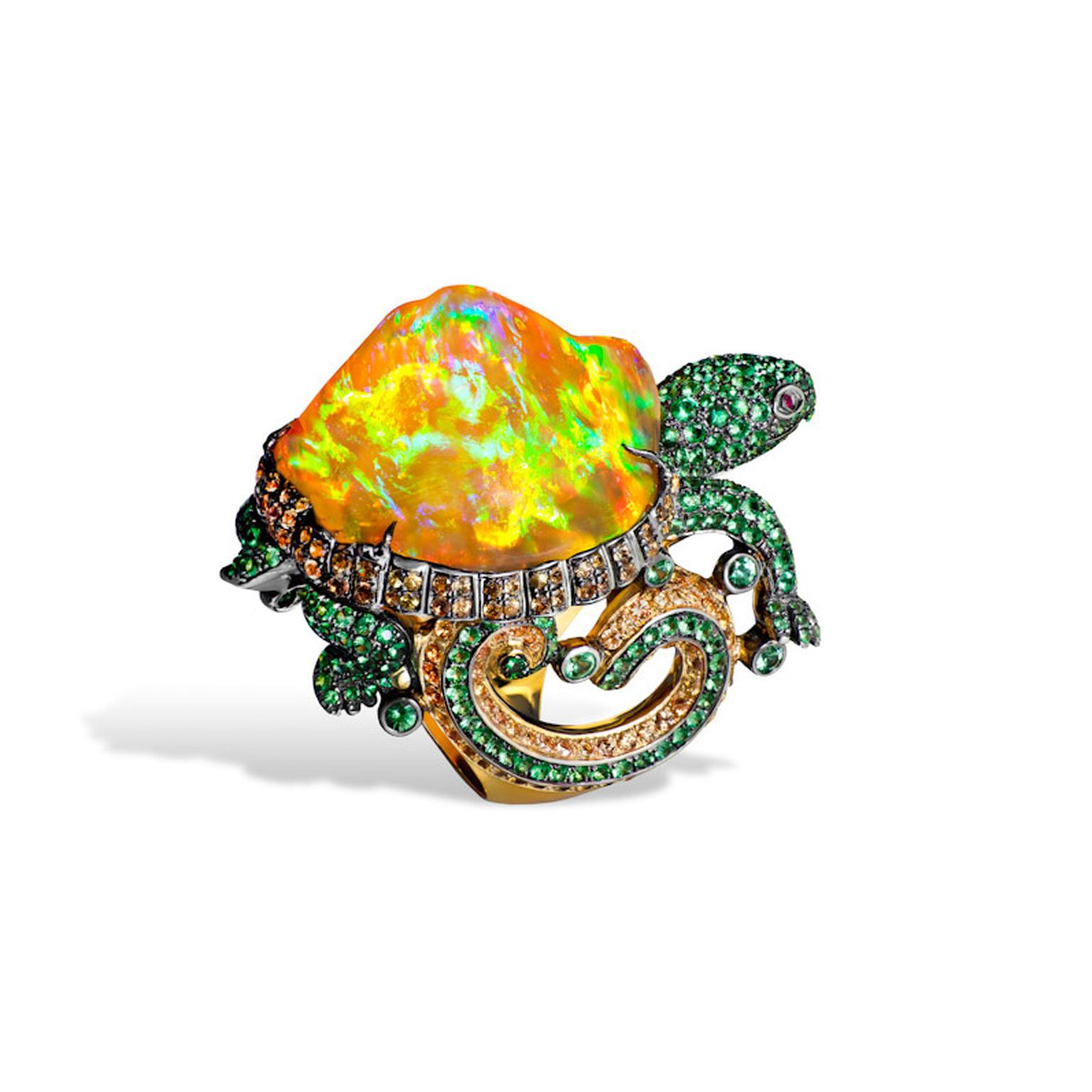 Know your opals in depth guide to an awe inspiring gem the lydia courteille mexican fire opal turtle ring aloadofball Choice Image