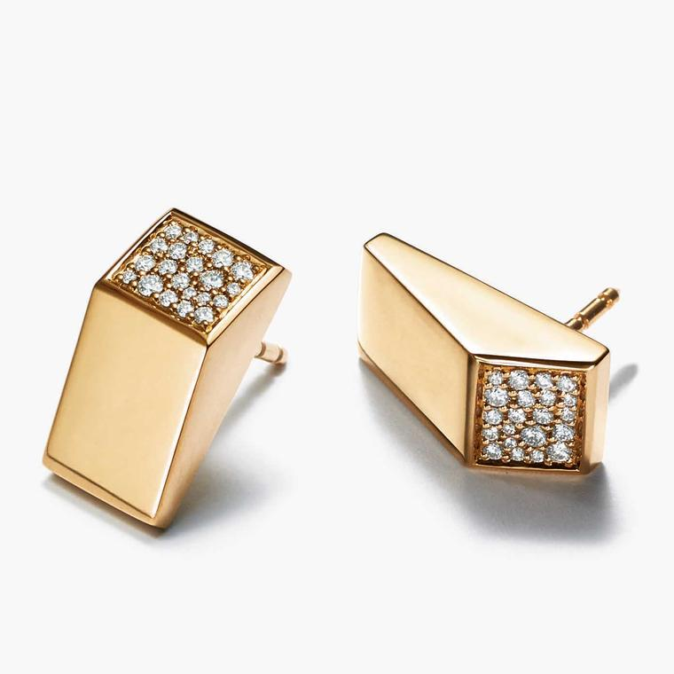 Tiffany Out of Retirement Block gold and diamond earrings