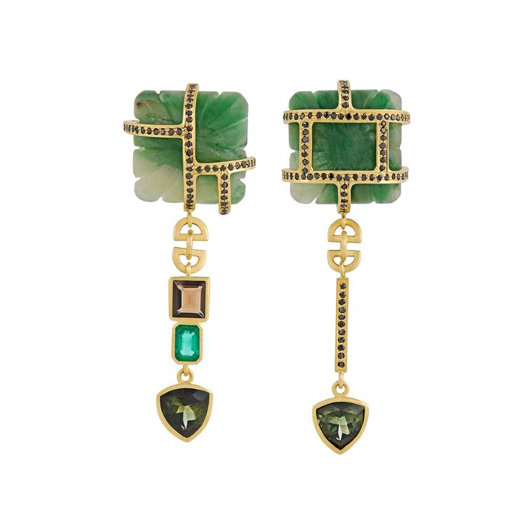 Tessa Packard carved aventurine and emerald earrings