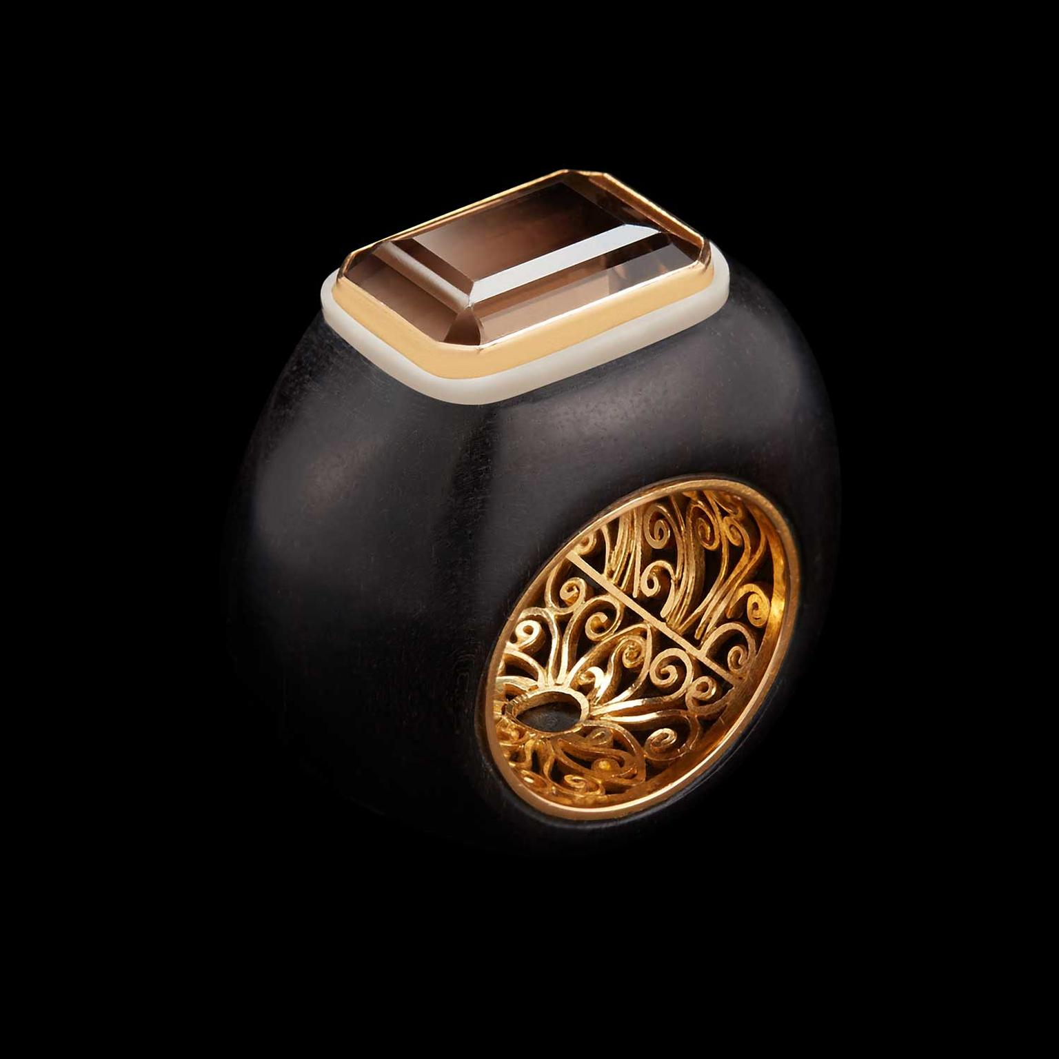 Alexandra Mor emerald-cut smokey topaz set on wood and Tagua nut ring