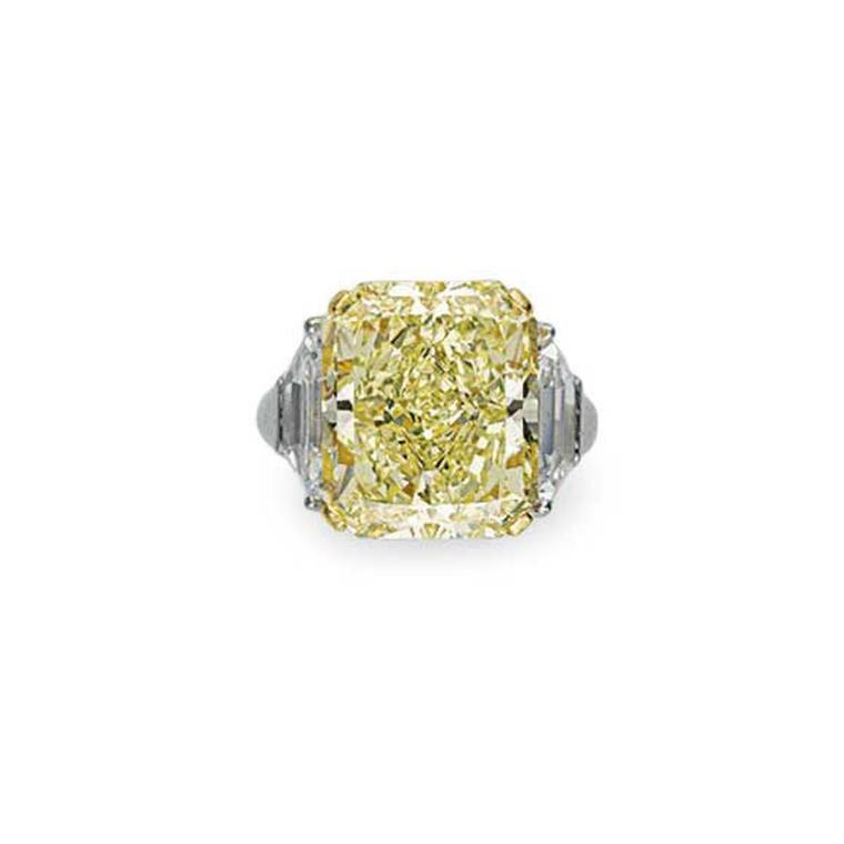 Cut cornered fancy yellow diamond ring