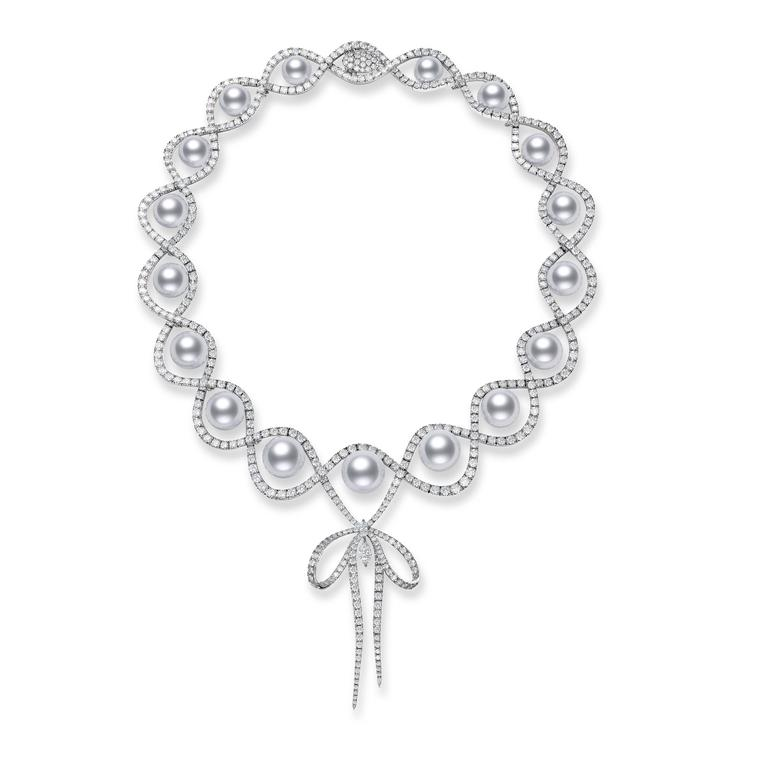 Mikimoto Ribbon bow diamond and pearl necklace