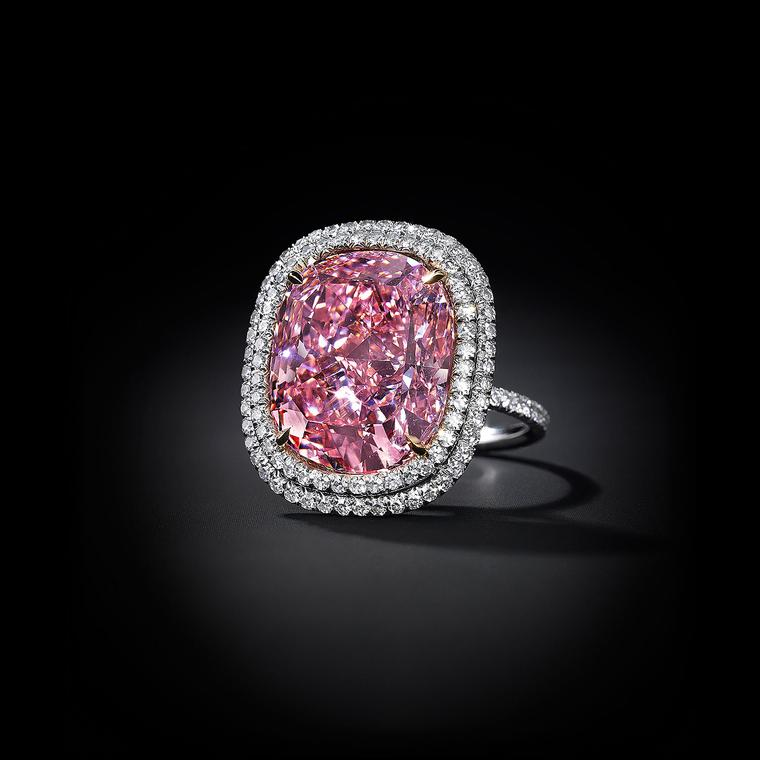 Christie's Fancy Vivid pink diamond ring